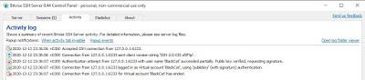 Bitvise SSH Server - Activity log