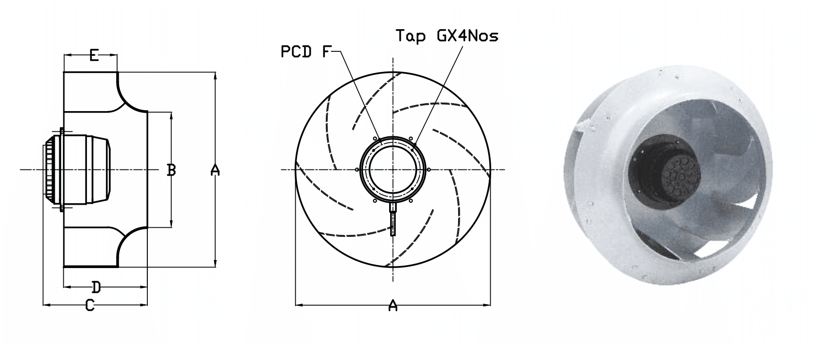 Dimensions - Backward Curved Fans