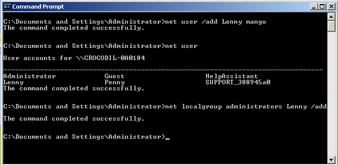 Manage User Account In Command Prompt