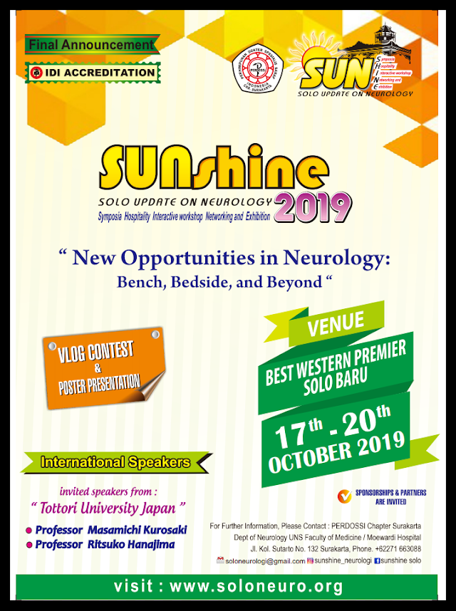 *SUNSHINE 2019* 🔅  Theme: *_New Opportunities in Neurology: Bench, Bedside, and Beyond_*    @Best Western Hotel Solo | 17th-20th October 2019