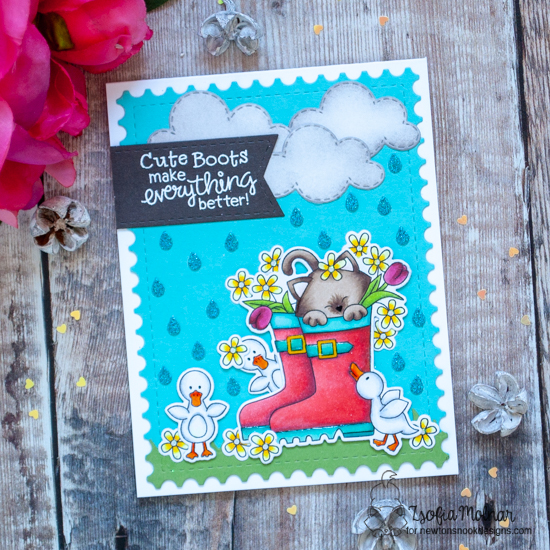 Kitty in Rain Boots Card by Zsofia Molnar | Newton's Rain Boots Stamp Set, Sky Scene Builder Die Set, Frames & Flags Die Set and Raindrops Stencil by Newton's Nook Designs #newtonsnook #handmade