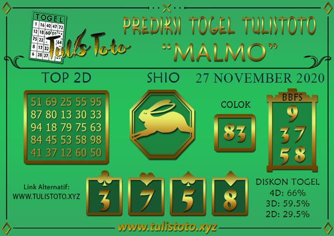 Prediksi Togel MALMO TULISTOTO 27 NOVEMBER 2020