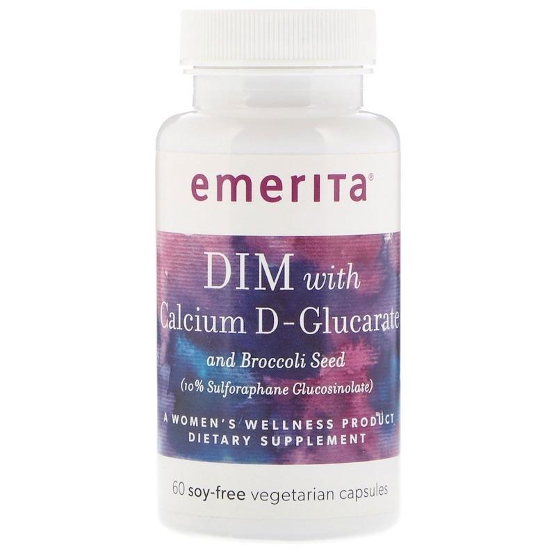 Emerita, DIM с D-глюкаратом кальция и брокколи, 60 безсоевых вегетарианских капсул