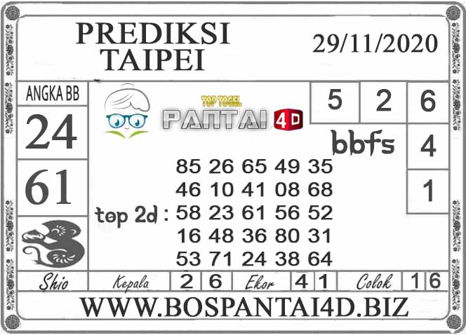 PREDIKSI TOGEL TAIPEI PANTAI4D 29 NOVEMBER 2020