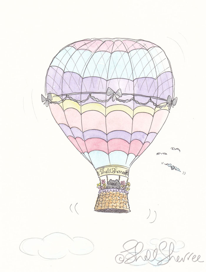 Cat in Hot Air Balloon cat illustration © Shell Sherree all rights reserved