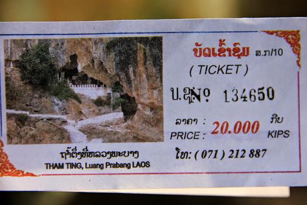 Bilhete de entrada para as grutas de Pak Ou