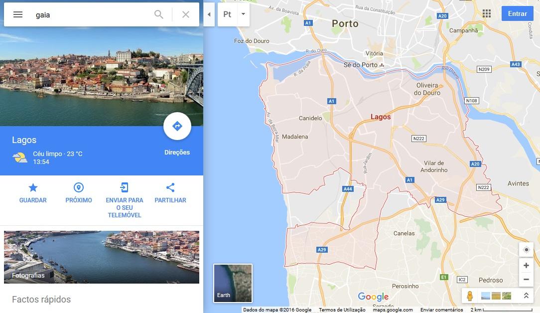 Vila Nova de Gaia passa a Lagos no Google Maps Aberto at de Madrugada