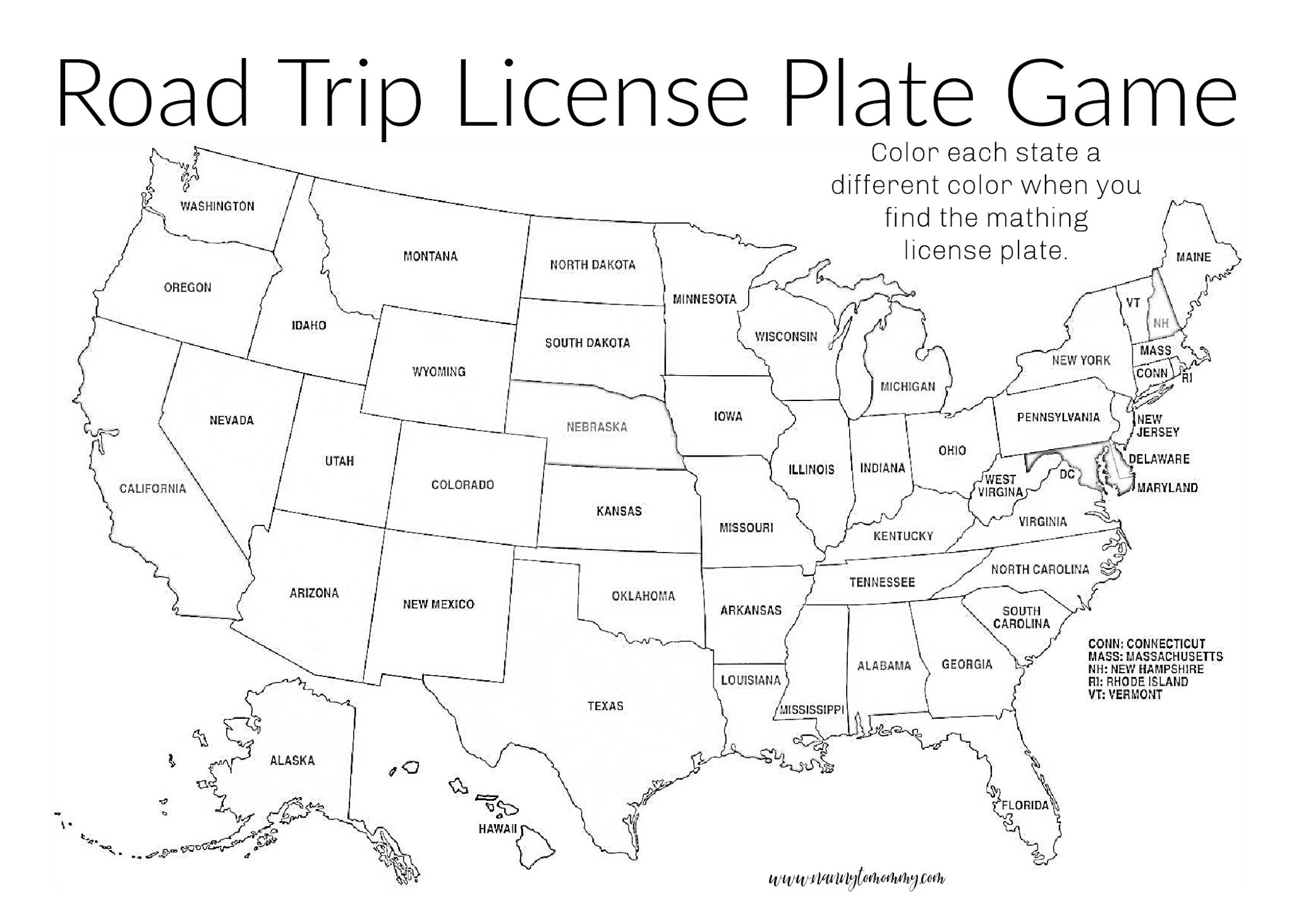 License Plate Road Trip Free Printable Screen Free Game