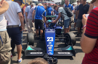 Billy Monger stops for autographs - Carlin F3