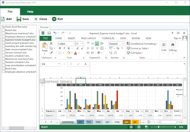 Screenshot SysTools Excel Recovery 4.0.0.0 Full Version