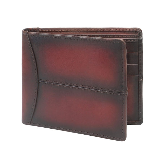 BRUNE VEG TANNED HAND PAINTED WINE LEATHER WALLET