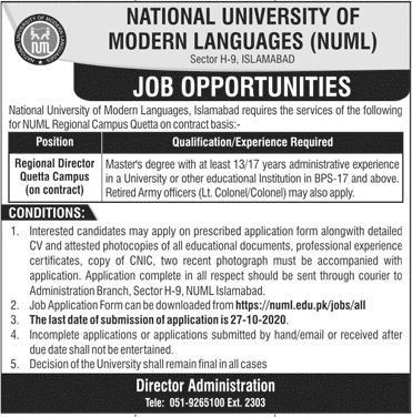 National University of Modern Languages NUML Job Advertisement in Pakistan - Apply Online - www.numl.edu.pk/jobs/all
