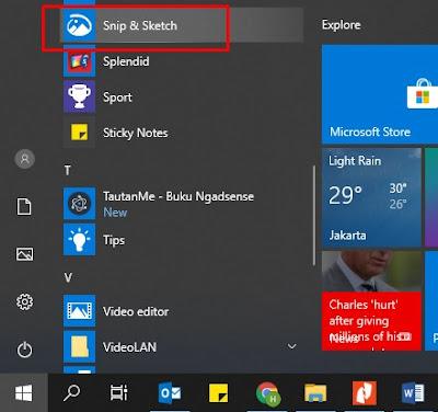 cara screenshot di laptop windows - snipping tool