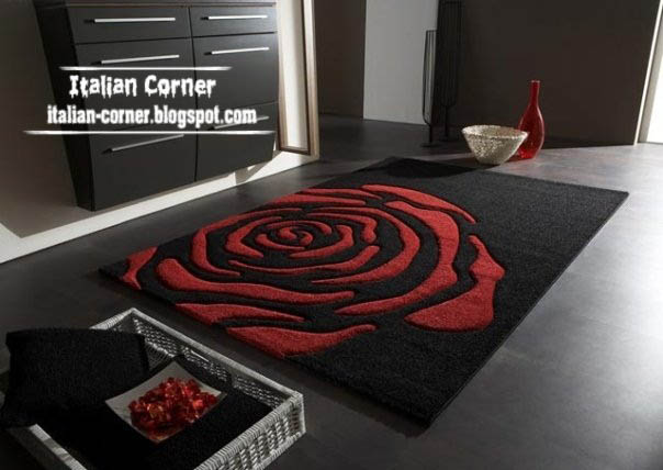 Italian Black Flower Carpet Italy Rug Red