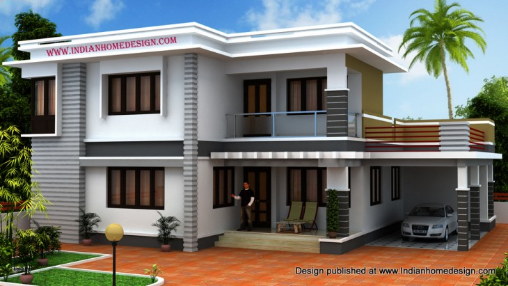 House exterior view by shiaz indian home design free for South indian model house plan