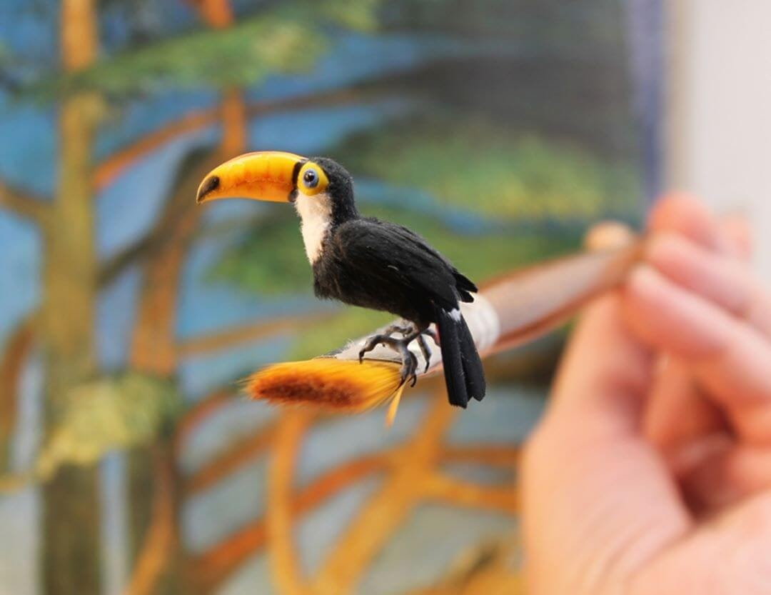 03-Toco-Toucan-Katie-Doka-Hand-Sculpted-Dollhouse-Miniature-Animals-www-designstack-co