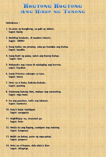 Makatang Pinoy Mga Bugtong At Halimbawa