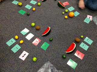 Fun with fruit manipulatives: Blog post includes great ideas for using fake fruit to practice rhythm in the elementary music room!