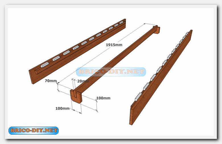 Camas de madera plano con medidas de una plaza y media for Que medidas tiene una cama matrimonial