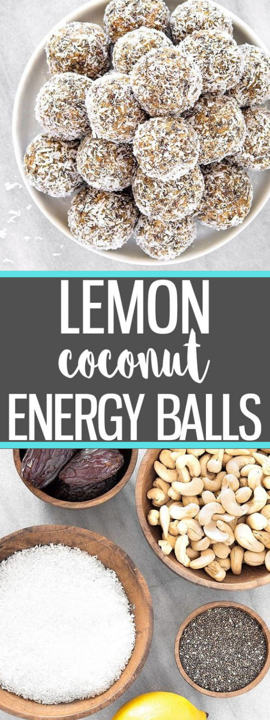 HEALTHY LEMON COCONUT ENERGY BALLS #coconut #lemon #cake