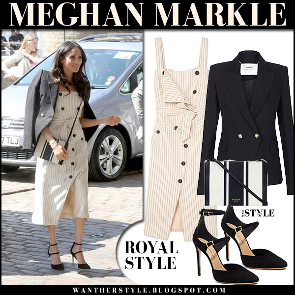 Meghan Markle in beige pinstripe button detail midi dress altuzarra audrey and black blazer royal fashion spring april 18