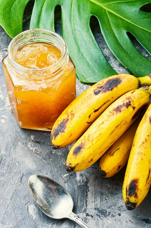 Glass jar with jam of banana