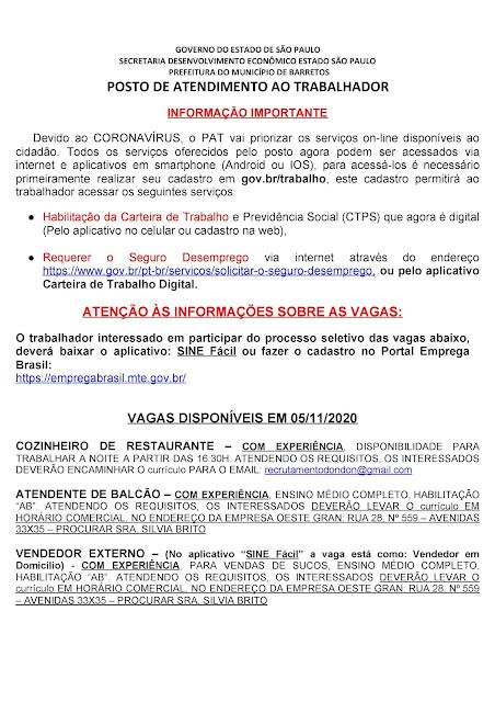 VAGAS DE EMPREGO DO PAT BARRETOS PARA 05-11-2020 PUBLICADAS DE MANHÃ - Pag. 1