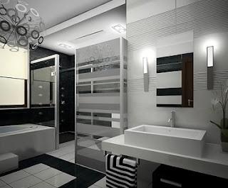Baño color negro blanco