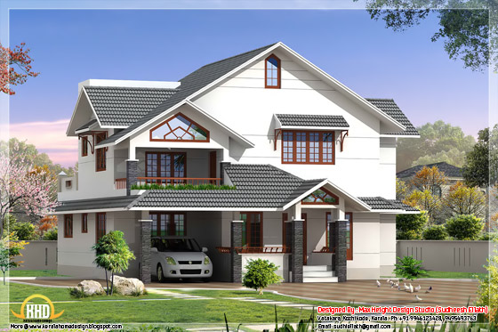 2550 square feet house elevation in 3D