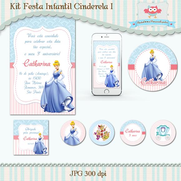 Kit de artes digitais para festa infantil Cinderela
