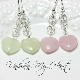 Unchain My Heart Gemstone Earrings: Jade Rose Quartz