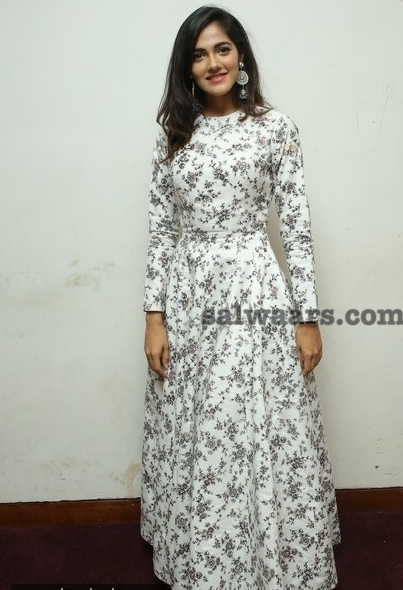Model in Floor Length Floral Salwar