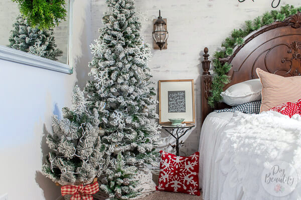 Christmas trees in master bedroom