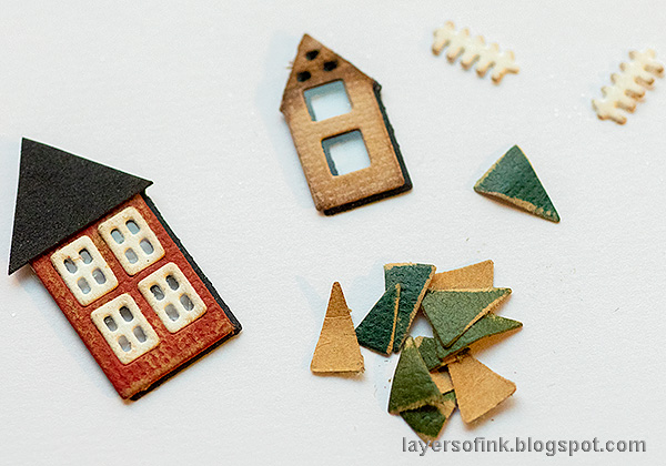 Layers of ink - Winter Cottage in a Snowglobe by Anna-Karin Evaldsson. Die cut Tim Holtz Snowglobe 2.