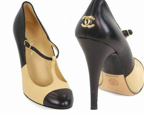 5f8293a8e06e classic T-strap, two-tone Chanel shoes, heels