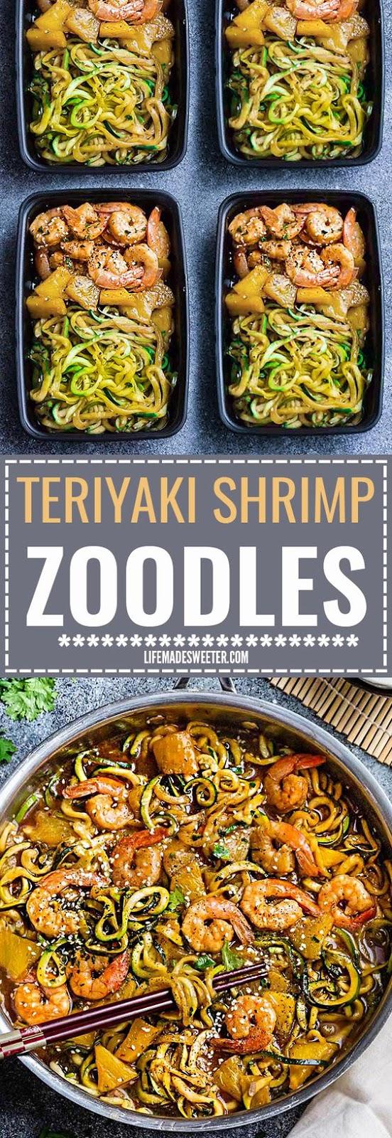 Teriyaki Shrimp Zoodles + Meal Prep