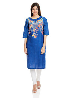 Aurelia Three Qarter Sleeve Round Neck Cotton Blue Kurta from fashiondiya