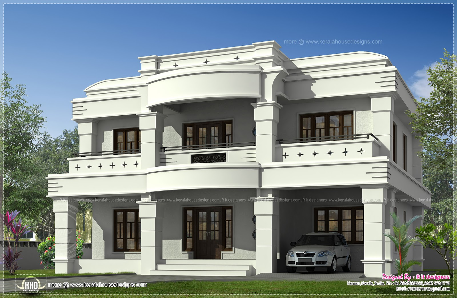 Double Storied Luxury Home Exterior Kerala Plans