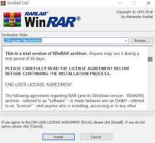 Instal Aplikasi Winrar