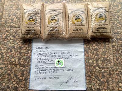 Benih padi yang dibeli   MULYADI Malang, Jatim  (Sebelum packing karung).