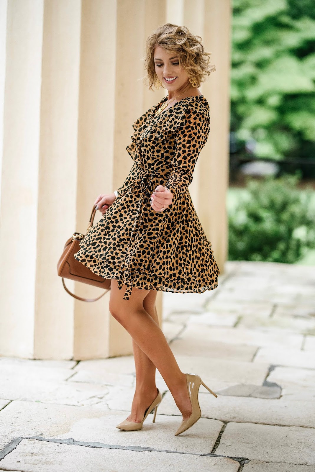 A Dress You'll Want To Twirl In: Free People Leopard Wrap Dress - Something Delightful Blog @racheltimmerman
