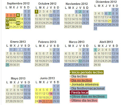 Calendario escolar en Madrid para el curso 2012/2013