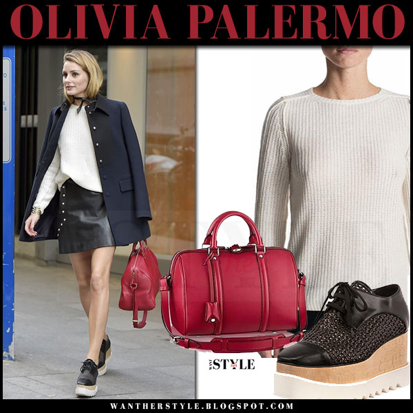Olivia Palermo in navy blue coat, cream knit strom sweater, black leather mini skirt, platform oxfords stella mccartney and louis vuitton sofia coppola red bag what she wore