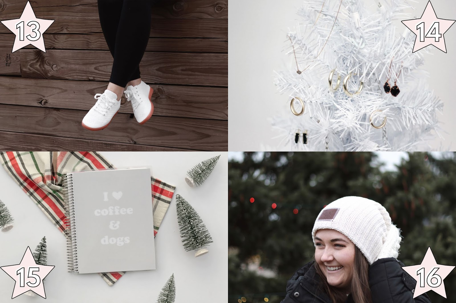 unique holiday gift ideas for her, suavs most comfortable sneakers gift idea for her, kendra scott winter collection gift ideas for her, erin condren custom notebook gift idea, love your melon white beanie gift idea for her, holiday christmas gift ideas for her