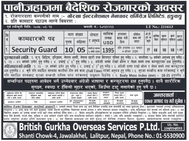 Job In Hong Kong for Nepali, Salary Rs 150660