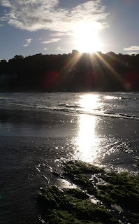 Sunset across the beach at Aberporth
