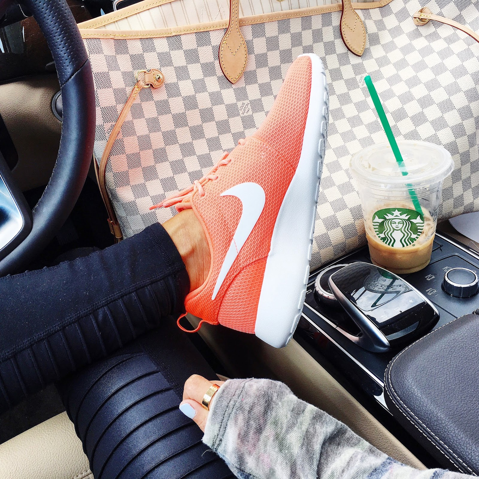 emily geemma, the sweetest thing, coral nike roshe, alo moto yoga legging, louis vuitton damier Azur GM