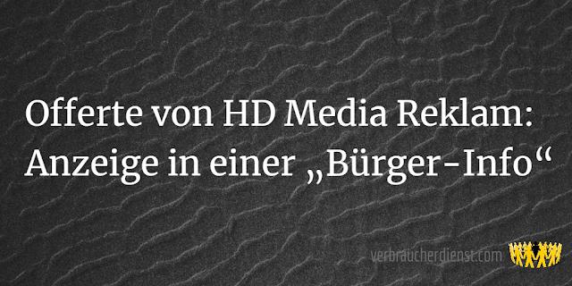 """Titel: Offerte von HD Media Reklam: Anzeige in einer """"Bürger-Info"""""""