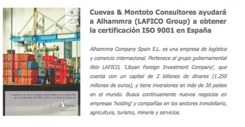 Contrato de consultoría bilingüe (español e inglés) con Alhammra (LAFICO Group) para obtener la ISO 9001 en España.