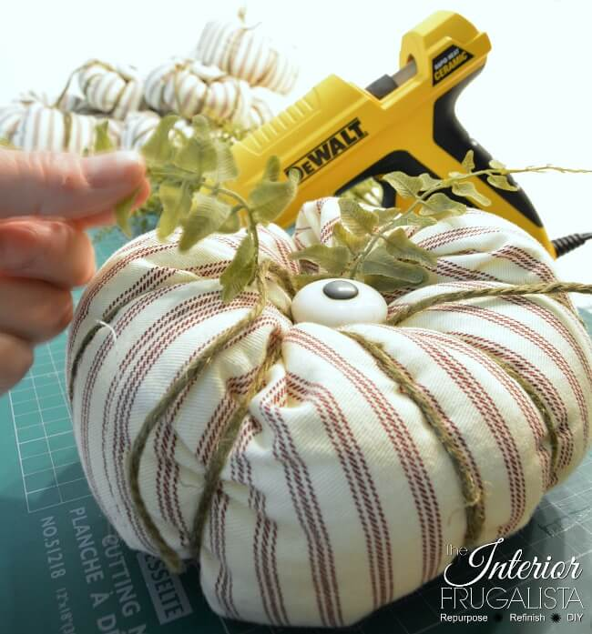 Ticking Fabric Pumpkins Faux Leaves